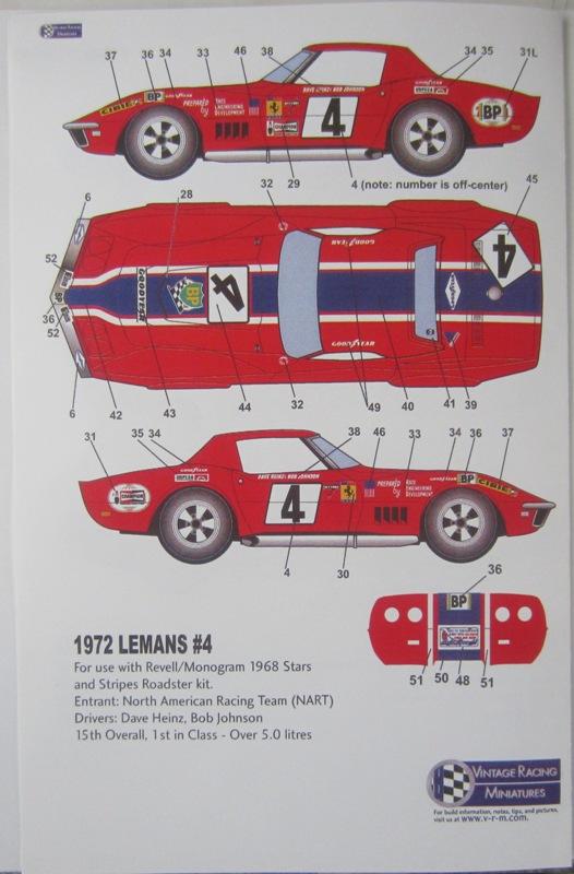 1969 N.A.R.T. Corvette, #4 Le Mans 1972 24-vi