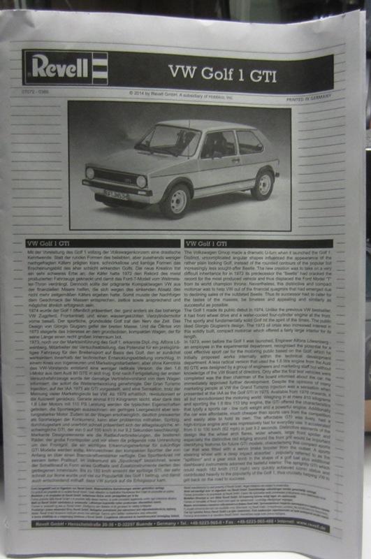 REVELL  Volkswagen Golf I  GTI et Cabriolet!  100-vi