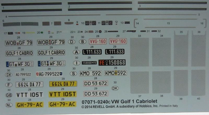 REVELL  Volkswagen Golf I  GTI et Cabriolet!  129-vi