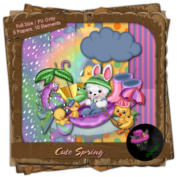 Cute Spring Mini Kit 4 - Playing in the Rain