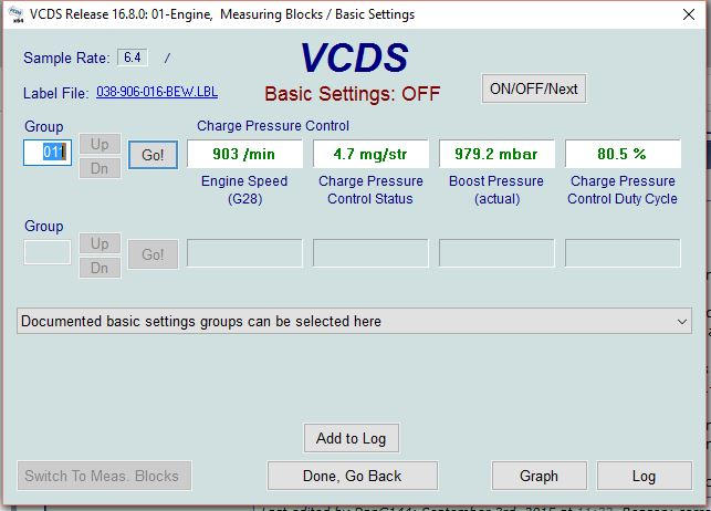 test N75 > VCDS > Measuring Blocks > Switch to basic Settings