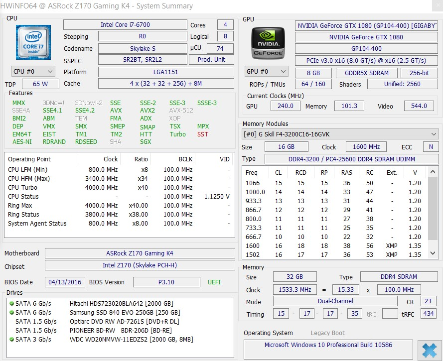 RAM clock speed listed as 3200, but only showing as 1066
