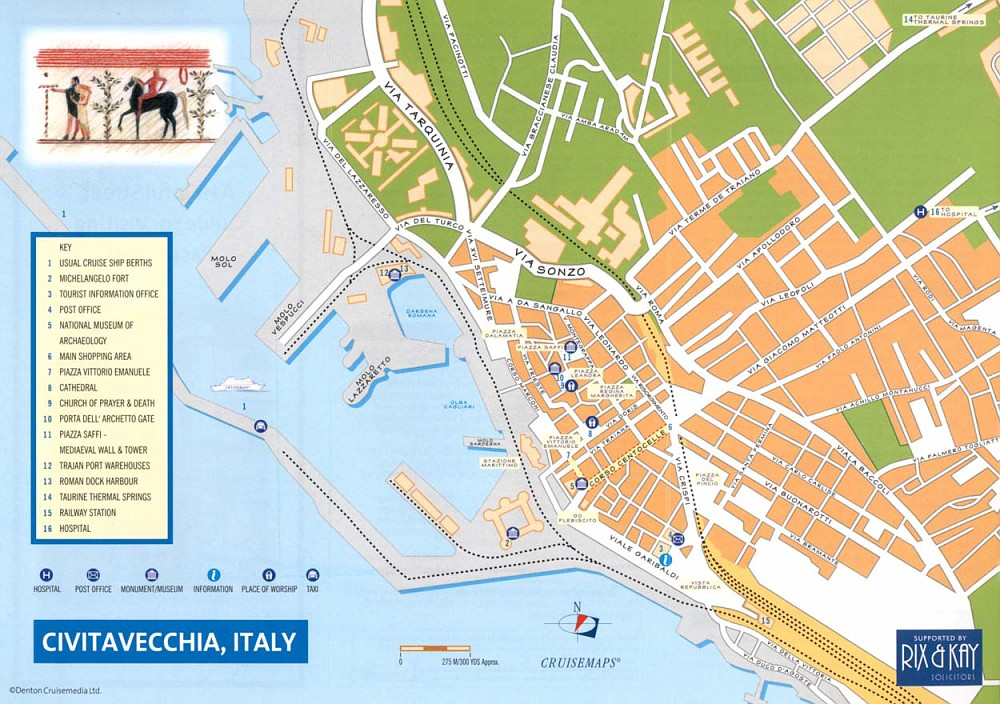 Map of Civitavecchia port and town