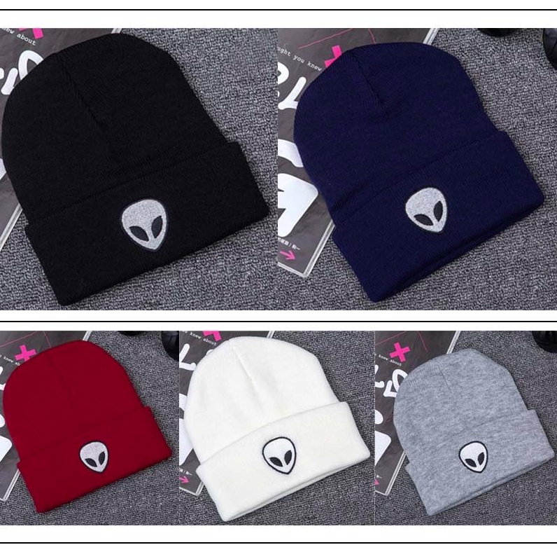 UK Warm Soft Mens Women's Winter Warm Alien Hat Pom Hat Beanie Ski Cap