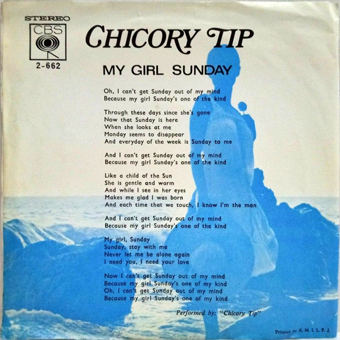 Chicory Tip My Girl Sunday Singapore back