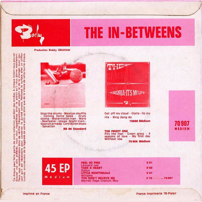 The In-Betweens (Slade) Feel So Fine EP France back