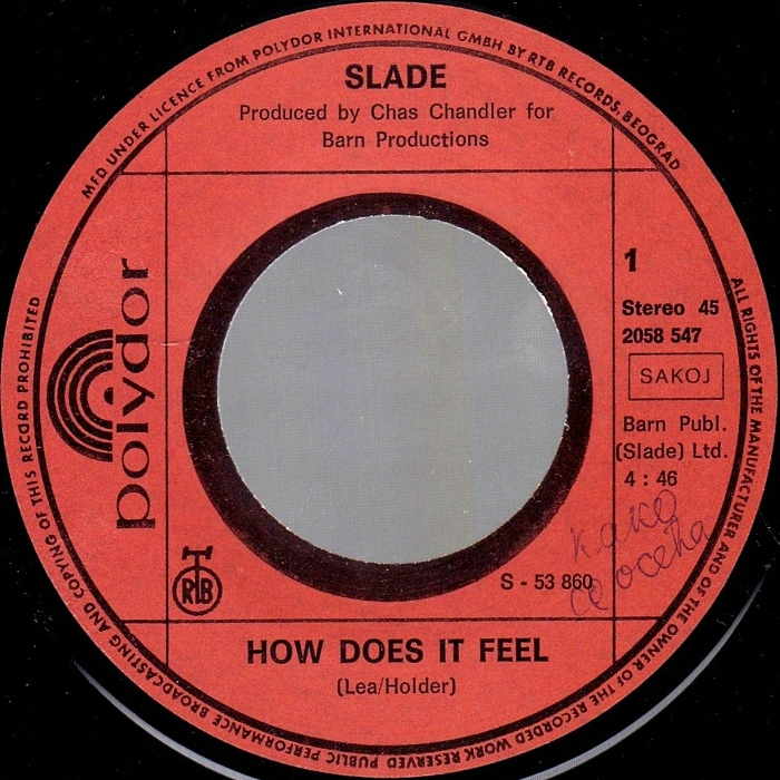 Slade How Does It Feel Yugoslavia side 1