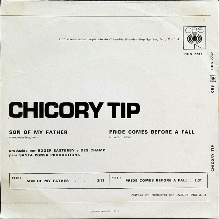 Chicory Tip Son of My Father Portugal back
