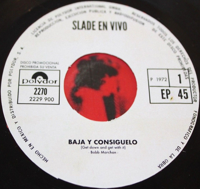 Slade Get Down And Get With It Mexico promo side 1