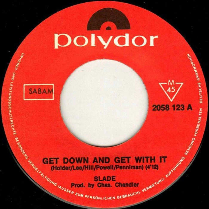 Slade Get Down And Get With It Belgium side 1