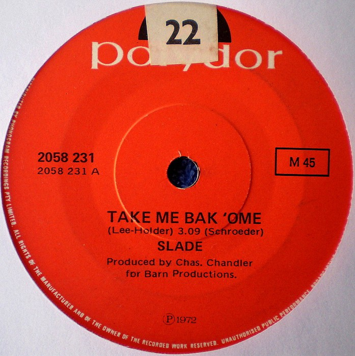 Slade Tak Me Bak Ome Australia side 1