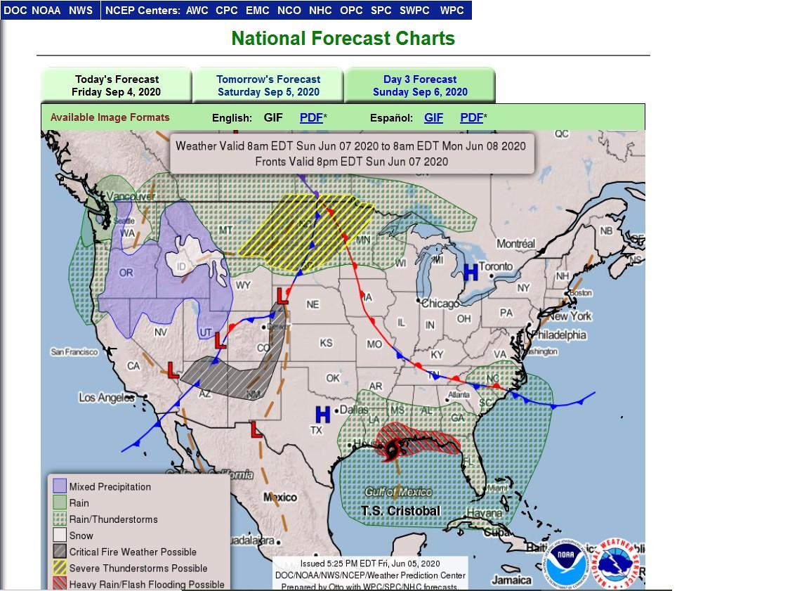 Sunday Sept 6 day 3 forecast map