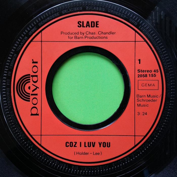 Slade Coz I Love You Germany side 1