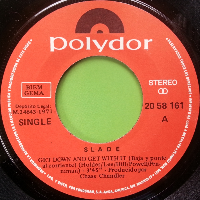 Slade Get Down And Get With It Spain side1