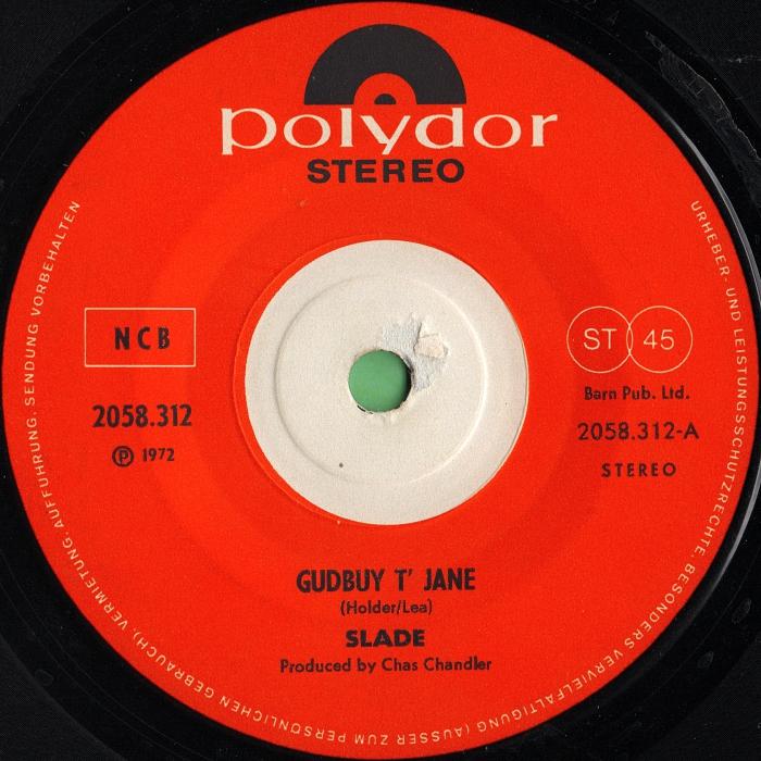 Slade Gudbuy T' Jane Norway side 1