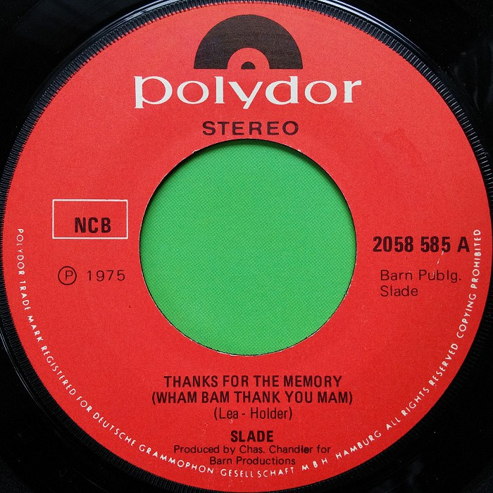 Slade Thanks For The Memory Norway side 1