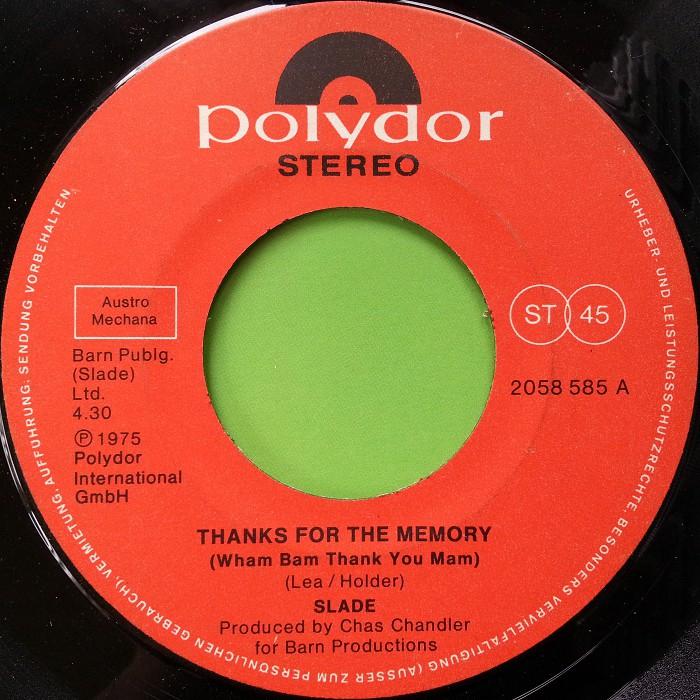 Slade Thanks For The Memory Austria side 1