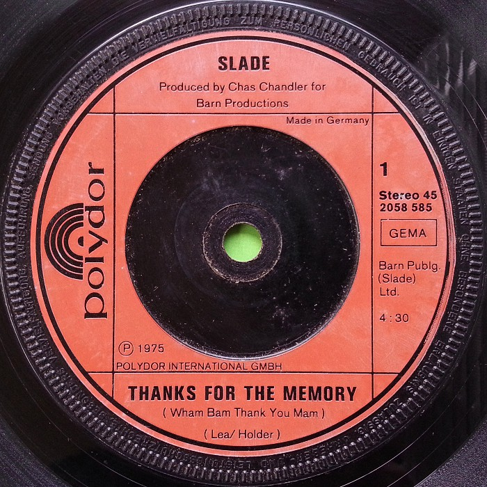 Slade Thanks For The Memory side 1 Germany