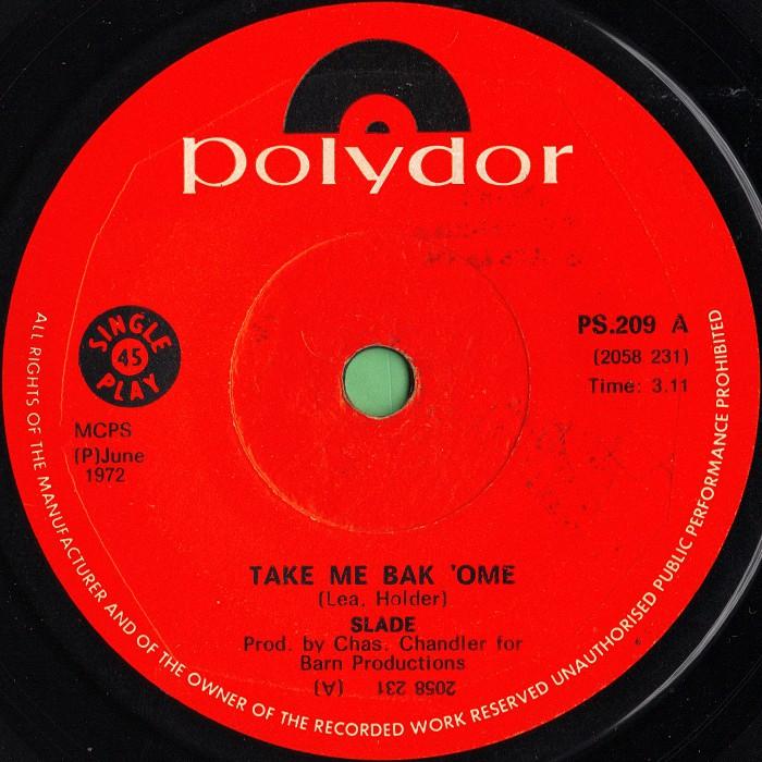 Slade Take Me Bak Ome South Africa side 1