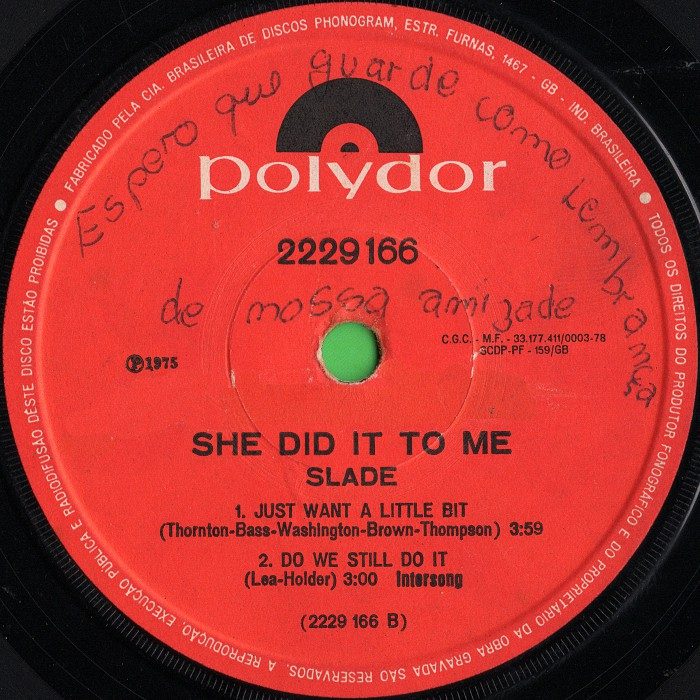 Slade She Did It To Me Brazil EP side 2