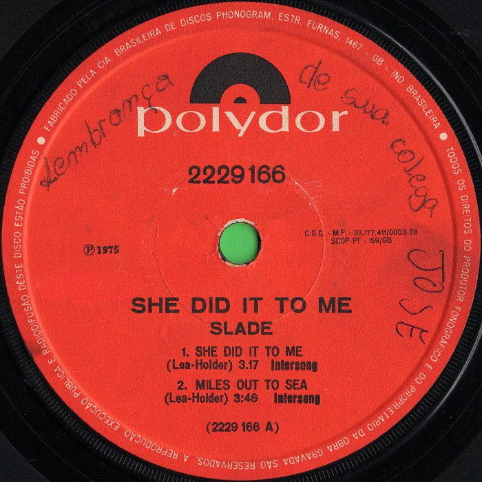 Slade She Did It To Me Brazil EP side 1