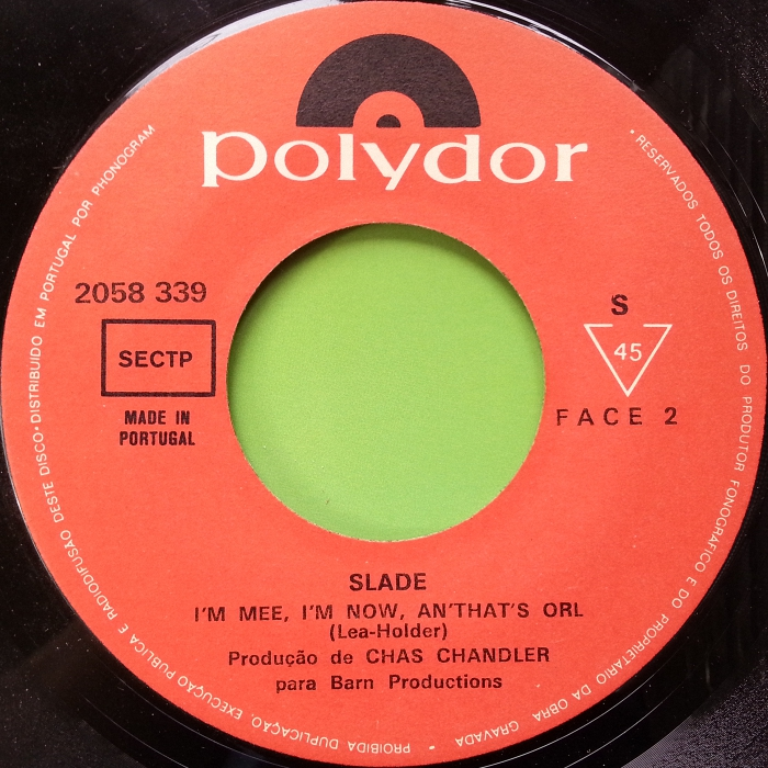 Slade Cum On Feel The Noize Portugal side 2