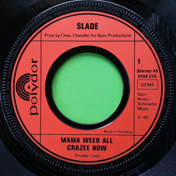 Slade Mama Weer All Crazee Now Germany side 1