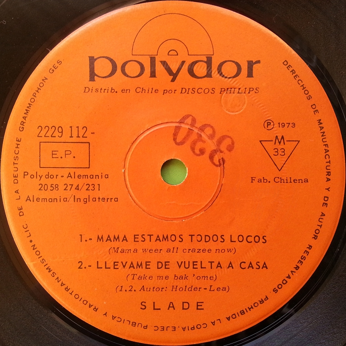 Slade Mama Weer All Crazee Now Chile EP promo side 1