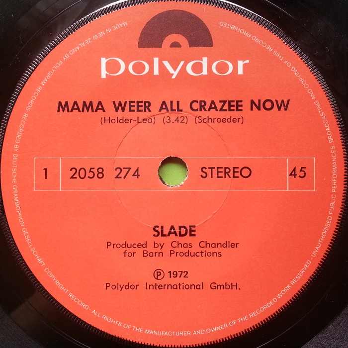Slade Mama Weer All Crazee Now New Zealand side 1