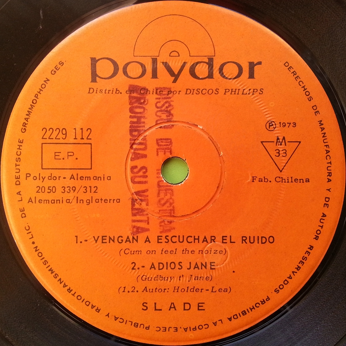 Slade Mama Weer All Crazee Now Chile EP promo side 2