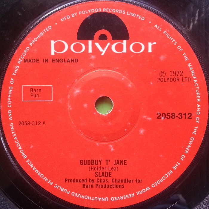 Slade Gudbuy To Jane UK side 1