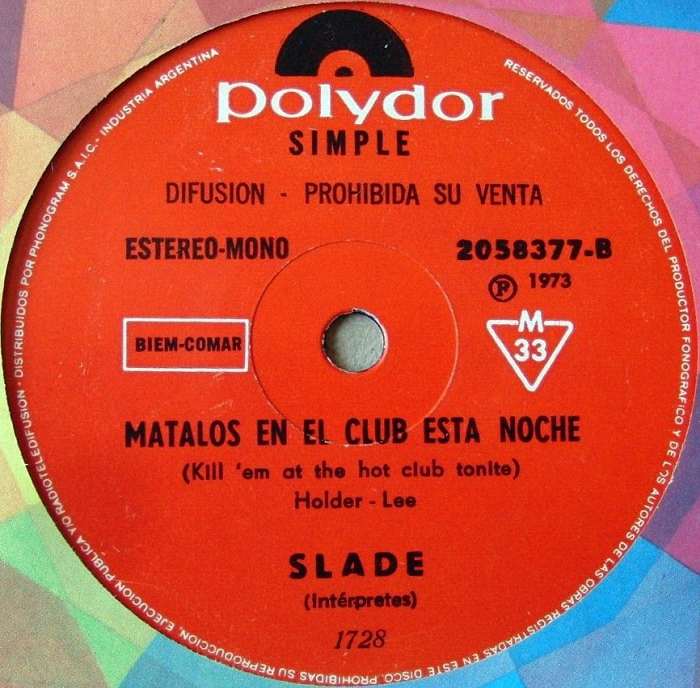 Slade Skweeze Me Pleeze Me Argentina promo side 2