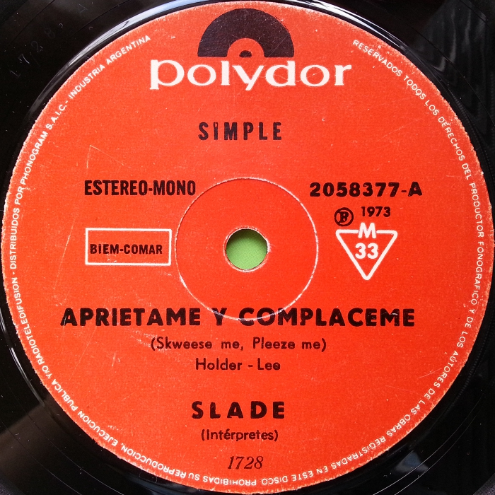 Slade Skweeze Me Pleeze Me Argentina side 1