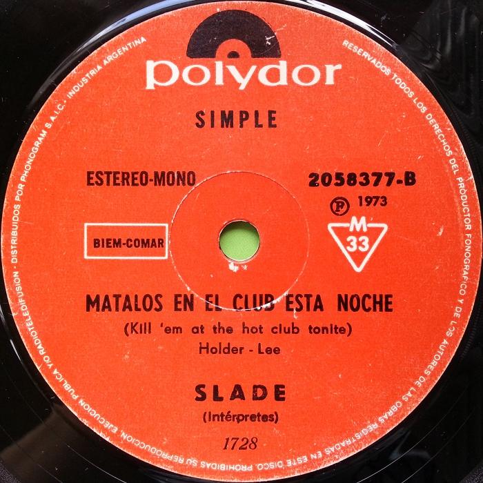 Slade Skweeze Me Pleeze Me Argentina side 2
