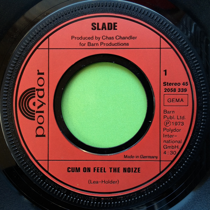 Slade Cum On Feel The Noize Germany side 1