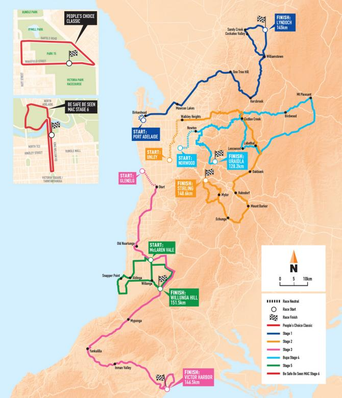 2018 Santos Tour Down Under Route Map