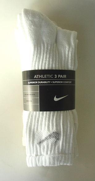 NIKE-White-Cotton-Crew-Athletic-Sports-Socks-3-Pairs-Mens-Size-10-13-NEW-NWT
