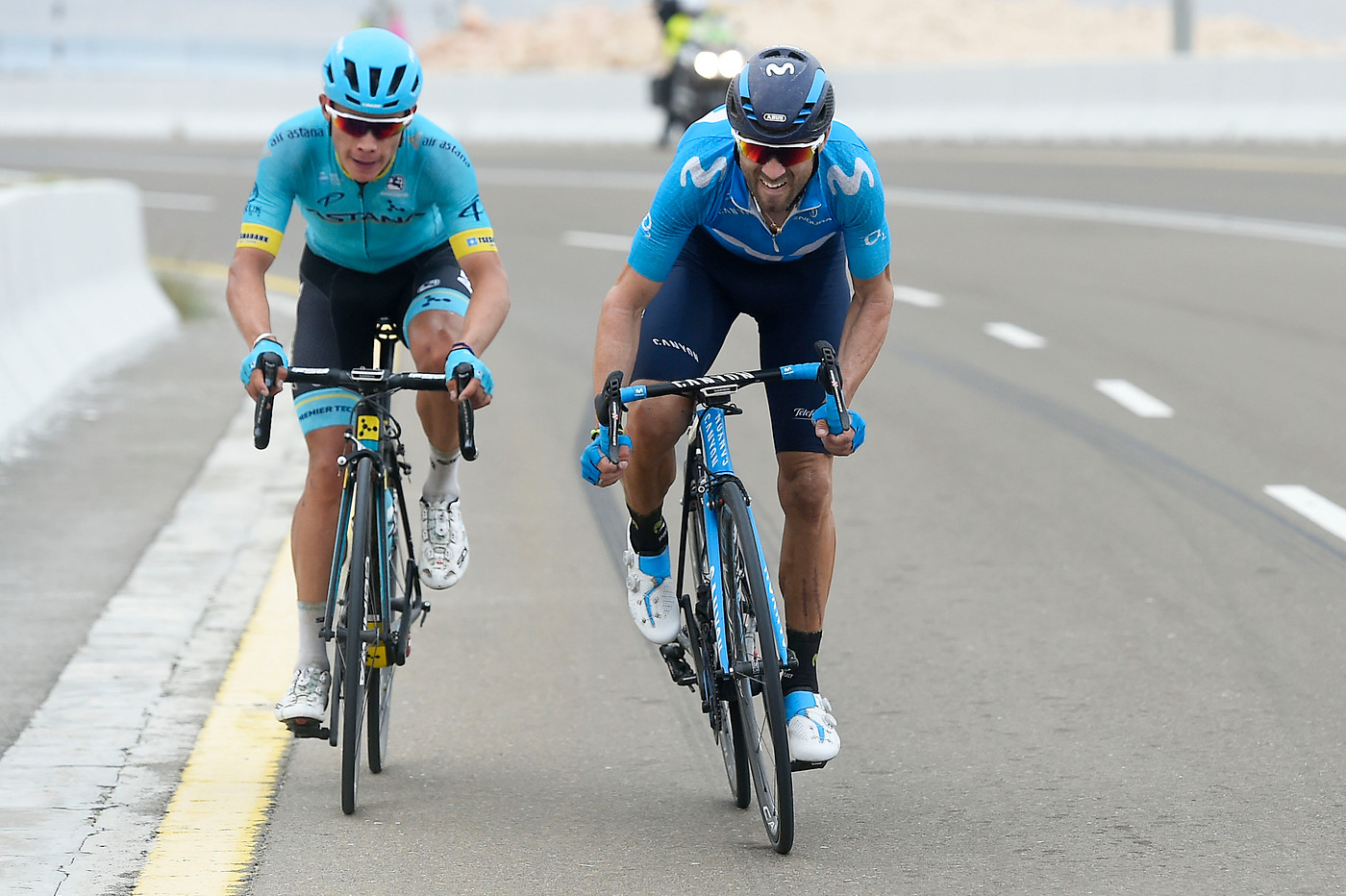 Valverde  and Lopez on Stage 5 Abu Dhabi