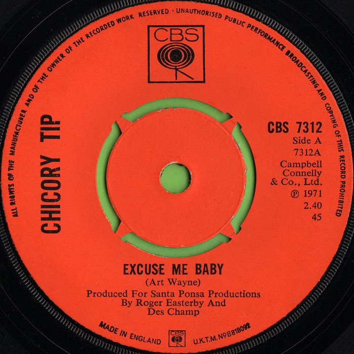 Chicory Tip Excuse Me Baby UK side 1