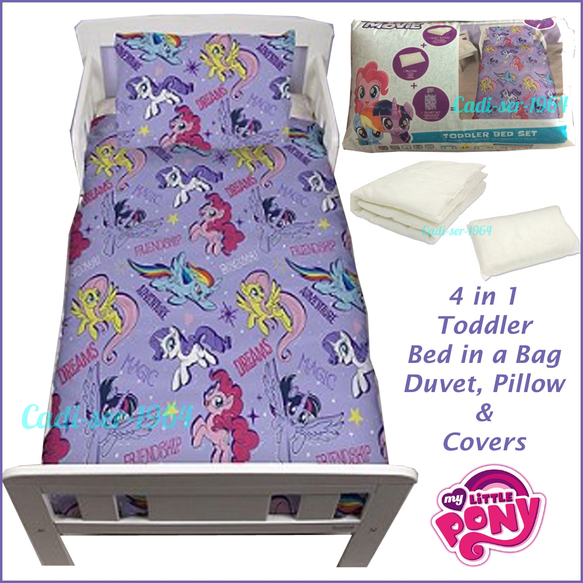 factory price f6889 95332 Details about My Little Pony Toddler Bed Set Duvet Pillow & Duvet Cover 4  in 1 Bed in a Bag