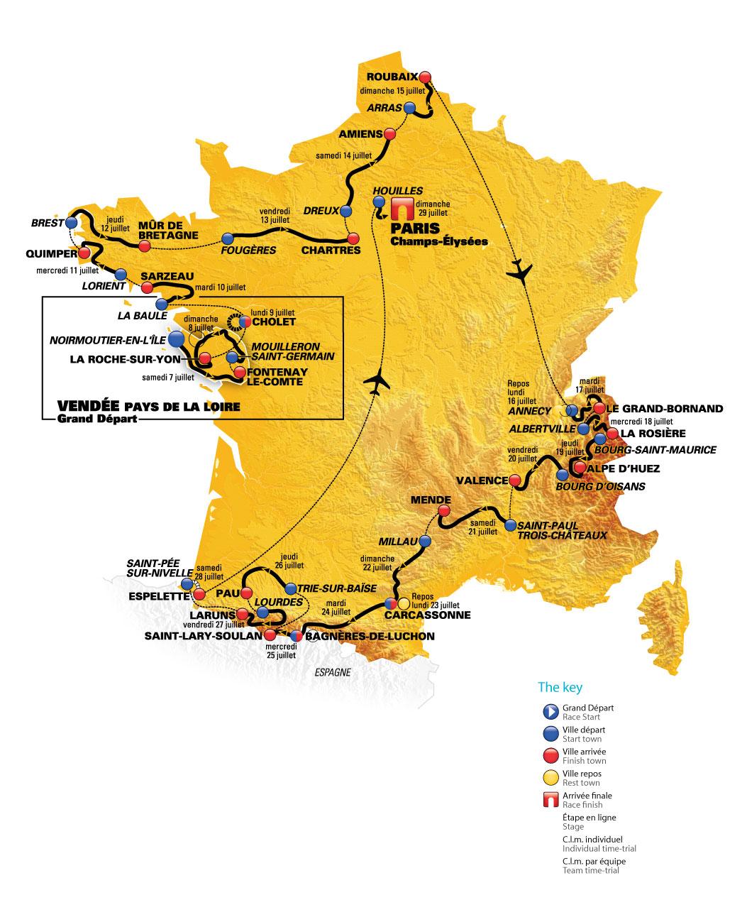 2018 Tour de France Route