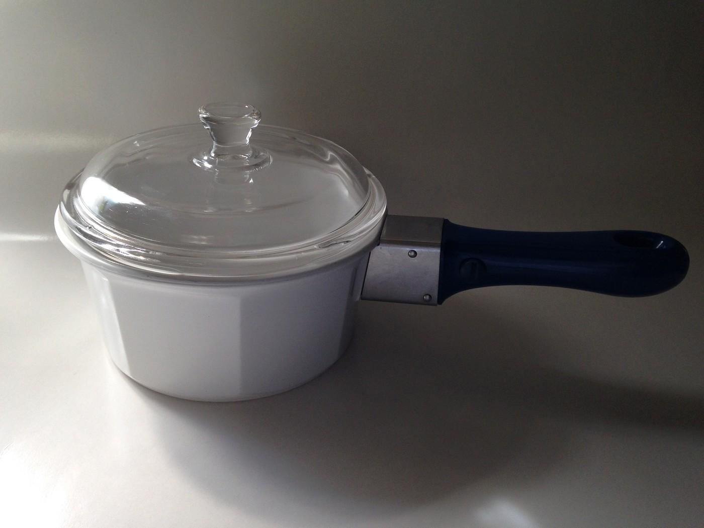Princess House Nouveau White Ceramic 1 Quart Pan Pot Lid Handle France