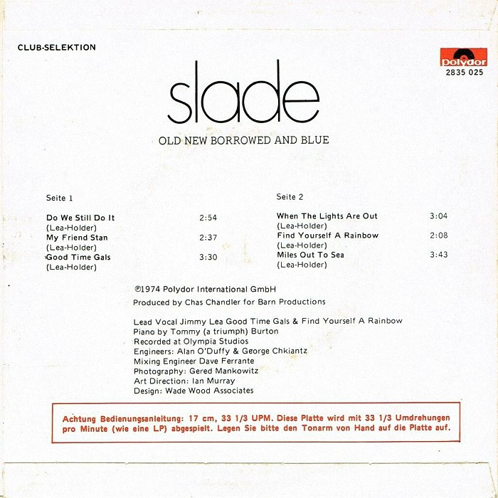 Slade Old, New, Borrowed and Blue EP Holland back