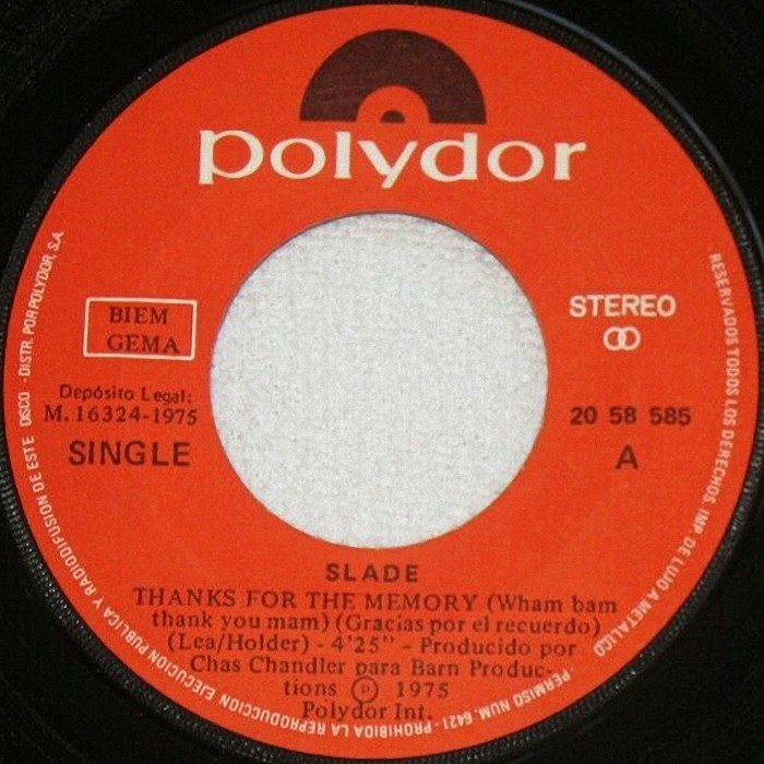 Slade Thanks For The Memory Spain side 1