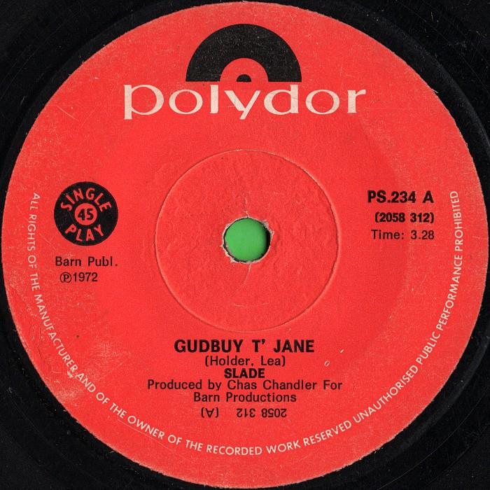 Slade Gudbuy T' Jane Rhodesia side 1