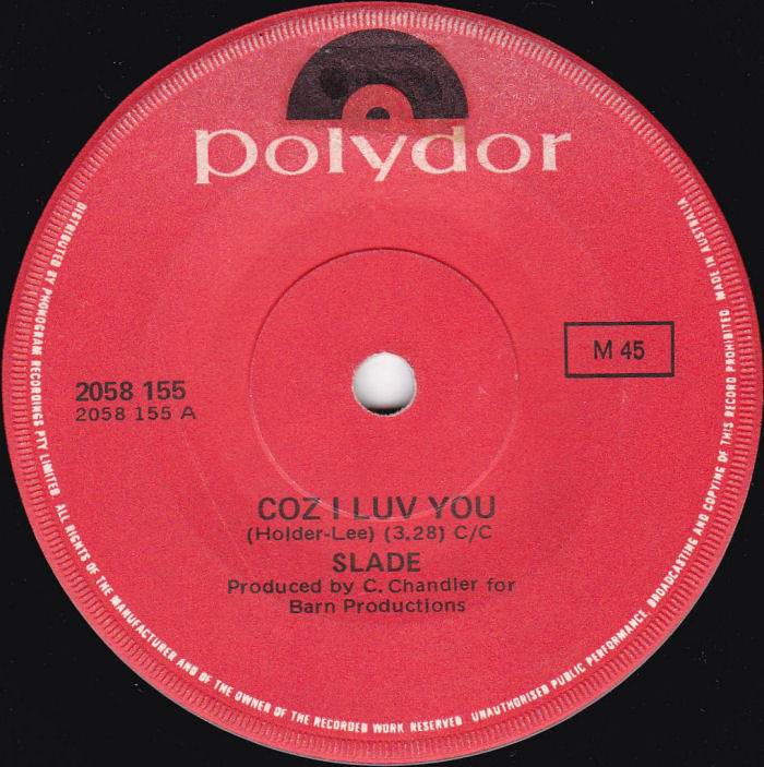 Slade Coz I Love You Australia side 1