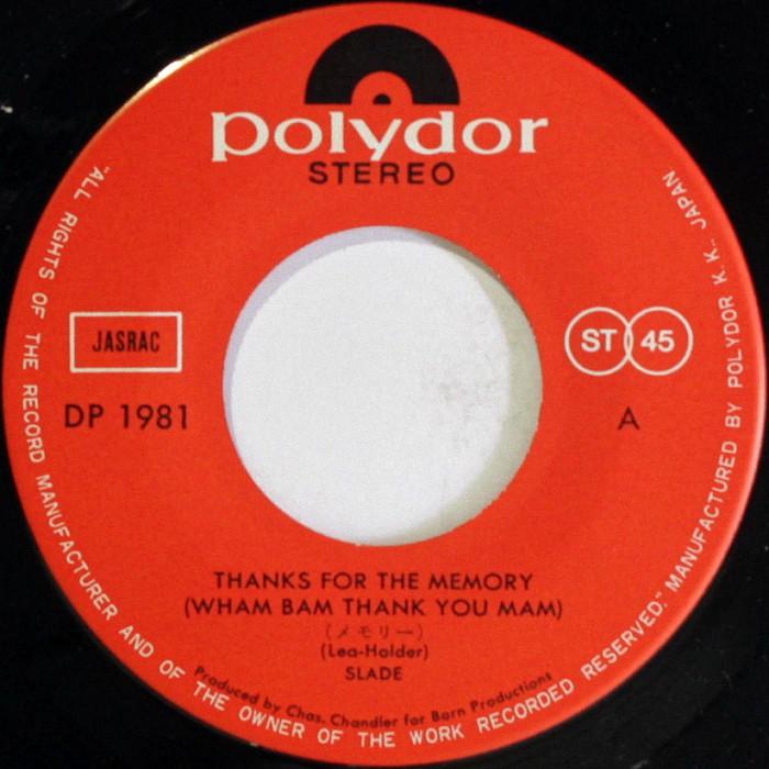 Slade Thanks For The Memory Japan side 1