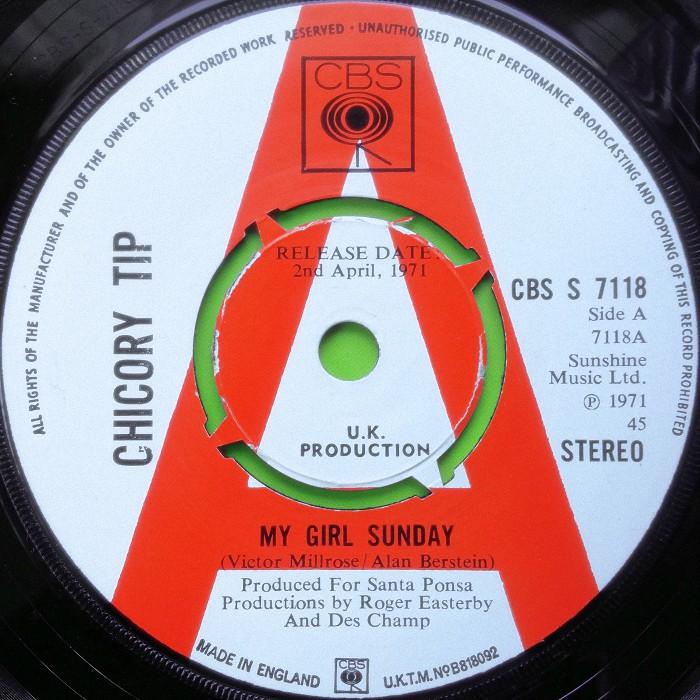 Chicory Tip My Girl Sunday UK promo side 1