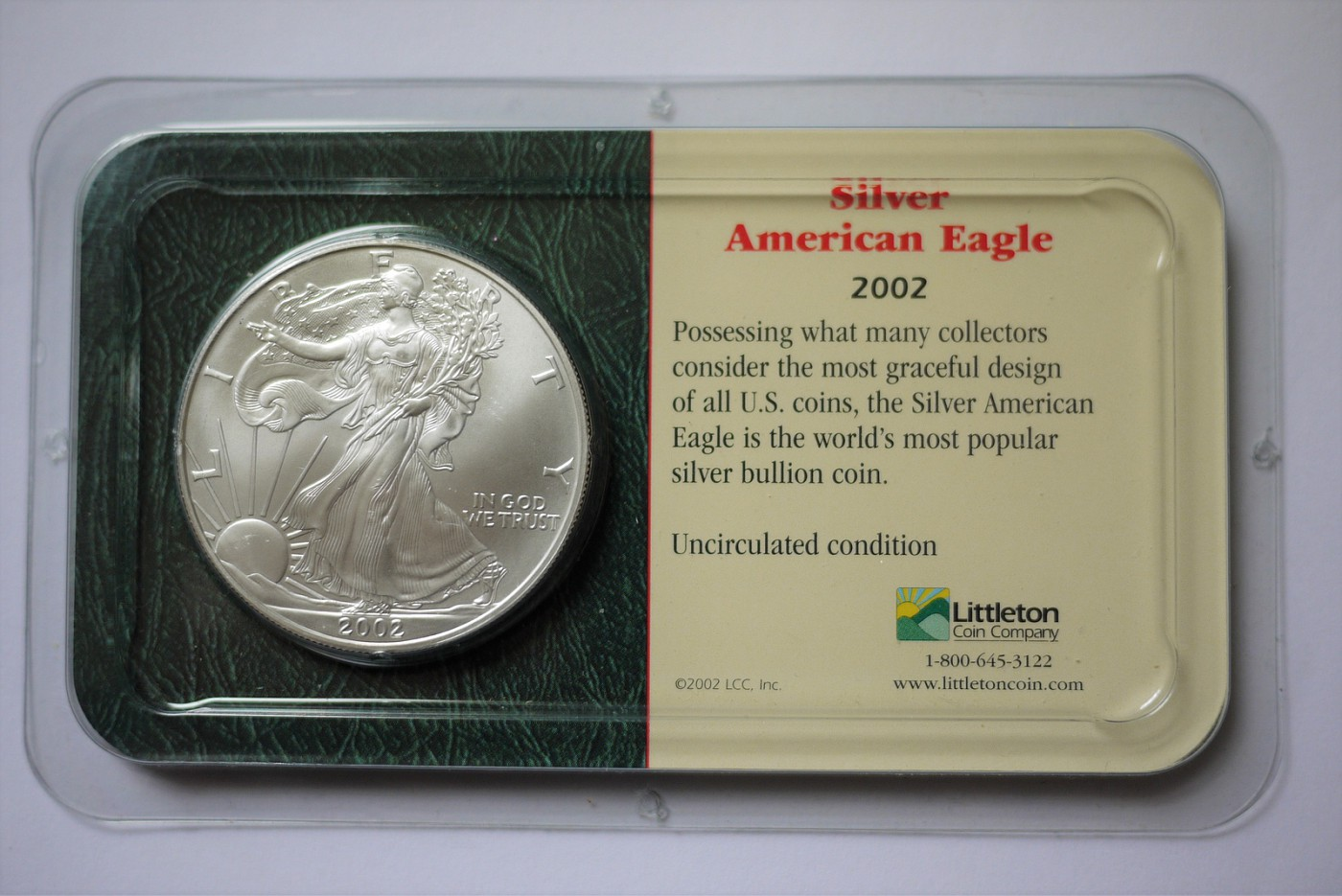 2004 Uncirculated 1 oz American Silver Eagle from Littleton Coin Company