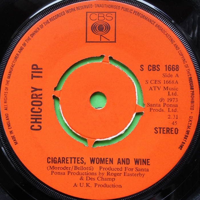 Chicory Tip Cigarettes, Women & Wine U.K. promo side 1